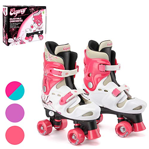 Osprey Roller Skates voor meisjes, klassieke, tweesporige rolschaatsen voor beginners, in grootte verstelbaar, comfortabele rollerblades met verstelbare schoengespen, veilig design voor kinderen
