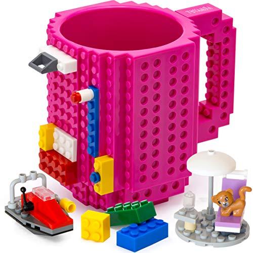 TOYAMBA Build-on Brick Mug BPA-frei Lustige Kaffeetasse mit 3 Packungen Bausteinen, Lustige Tassen für Kinder - Kreative Bausteintasse DIY Idee 16 oz (Magenta)