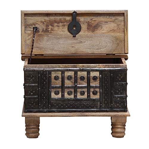 Casa Moro Orientalischer Truhentisch Hadis 60x60x40 (BxTxH) aus Echtholz Mango mit Metallapplikationen verziert | Orient Holz-Truhe Vintage Couchtisch mit klappbarer Tischplatte | CAC3201070 - 4