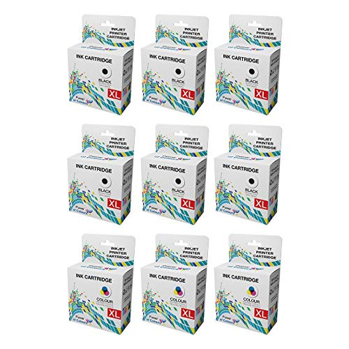 [3 SETS + 3x BLACK] = 9 Ink Cartridges Replacement for Dell Series 21 ll-In-One P513W, P713W, V313, V313W, V513W, V515W, V51, V715W