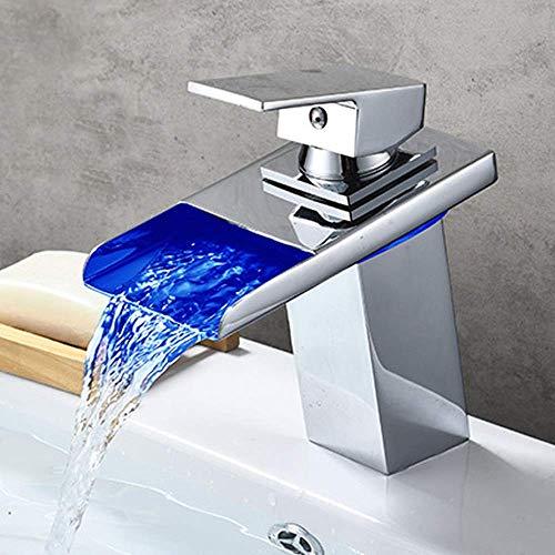 HYY-YY Moderno Led Color Cambio Baño Lavabo Cascada Grifo Cobre Control de Temperatura Inteligente Cambio de Color Válvula Cerámica Core Vidrio Cromo