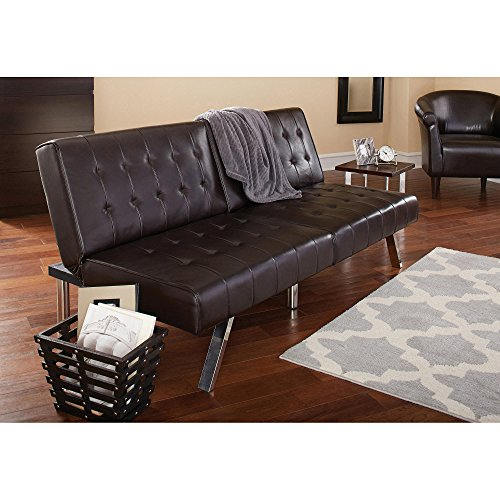 Morgan Faux Leather Tufted Convertible Futon, Brown, Modern Look, Quickly Converts from Sofa to Lounger to Sleeper, Click-clack Technology, Strong Stainless Steel Legs + Expert Guide