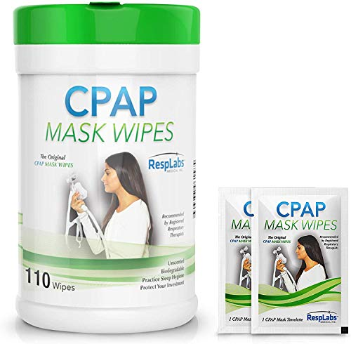 RespLabs Medical CPAP Mask Cleaning Wipes - [110 Pack Plus 2 Travel Wipes] - Biodegradable,...