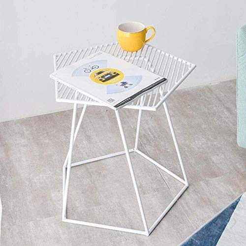 Balcony Side Table Iron Art Unique Hollow Design Coffee Table Bedroom Bedside Table Living Room Sofa Green Plant Storage (Color : White)