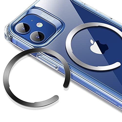 ESR Anillo Universal HaloLock, Kit de Conversión de Carga inalámbrica magnética Compatible con MagSafe, Compatible con iPhone 12/12 Pro/12 mini/12 Pro MAX, Samsung Galaxy (1 Negro + 1 Plateado