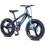 Cacoffay Bicicleta de montaña con Tenedor Suspensión Individual Velocidad Bicicleta Doble Desct Freno Sistema para niños Bicicleta, Niños Muchachas Montaña Bicicleta,Azul,16IN