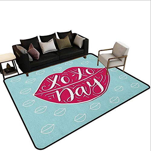 MsShe Big Carpet Xo, Hugs and Kisses Lettere scritte classiche Old Fashioned Calligrafia Romance Print, nero e bianco, Poliestere, Colore 13, 64'x 96'(W160cm x L240cm)