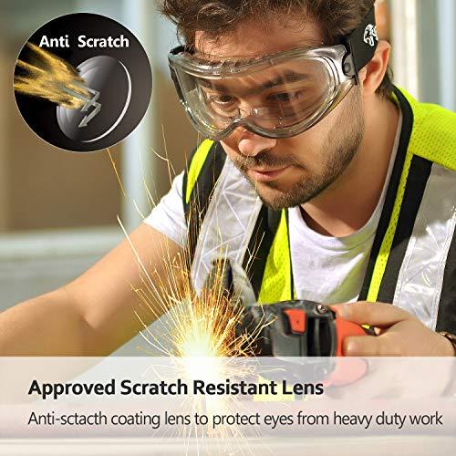 SAFEYEAR Schutzbrille Arbeitsbrille für Brillenträger - SG007 mit Seitenschutz und Rutschfesten Bügeln UV-Schutz mit Lüftung Gartenarbeit (Transparent) - 3