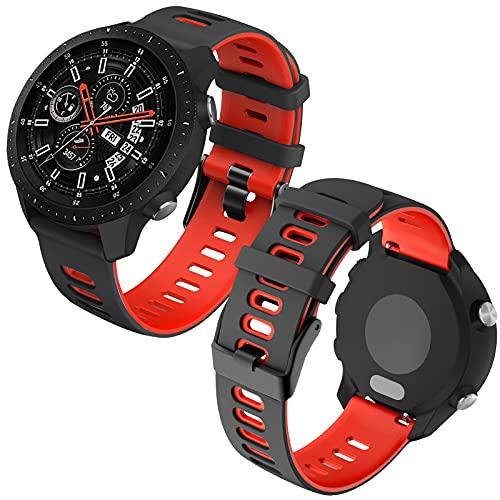 Th-some 22mm Repuesto de Correa para Samsung Galaxy Watch 3 (45mm)/Gear S3 Frontier/Classic/Galaxy Watch 46mm/Huawei GT/GT2 46mm, Banda de Reloj de Silicona Bicolor Ajustable (Rojo negro)