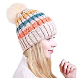 LLmoway Women Fleece Knit Hat Soft Warm Chunky Slouchy Ski Beanie, Cable Knitted Pom Cuff Hat, Beige
