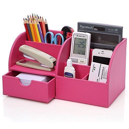 KINGFOM Büro Schreibtisch Organizer Ordnungssystem Tisch Organizer PU Leder Stiftehalter Stiftebox Stifteköcher Multifunktionale...
