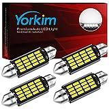 Yorkim Super Bright 578 Festoon LED Bulb White 41mm 42mm LED Bulb Canbus Error Free 16-SMD 4014 Chipset, 212-2 Dome Light Led MAP Light, LED Interior Light 211-2 LED Bulb, Pack of 4