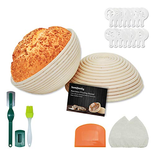 Somifently Banneton Proofing Basket for Sourdough Set of 2 Bread Basket 9 Inch Round with Dough Scraper Bread Lame Basting Brush Bread Stencils Linen Liner Cloth for Bread Baking