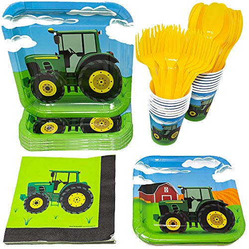 Tractor Party Supplies Pack (113+ Pieces for 16 Guests!), Tractor Birthday Kit, Tractor Plates, Tableware