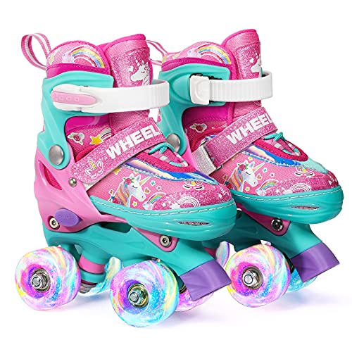 Wheelkids Roller Skates for Toddler Baby Kids Girls Ages 1-12, Pink Unicorn Adjustable Rollerskates Toddlers Beginners 4 Sizes with Light Up Wheels