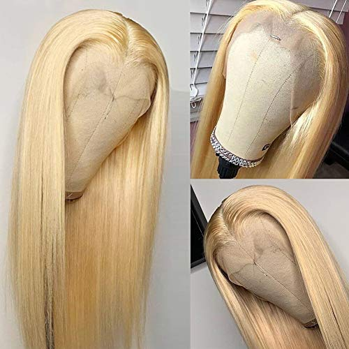 Allove 613 Blonde Lace Front Wig Human Hair Pre Plucked Bleached Hair Knots 20inch T Part Straight Lace Front Wigs with Baby Hair Natural Hairline Middle Part Brazilian Human Hair Wigs for Black Women