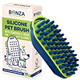 Bonza Cat and Dog Massage Brush, Easy to Clean Dog Bath Brush with Removable Screen, Soft Silicone Bristles are Gentle on Your Pet