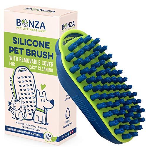Bonza Hundebürste - Katzenbürste - Hundepflege - Katzenpflege - Massagebürste - Badebürste - Weiche Silikonborsten - Abnehmbarer Bildschirm für einfache Reinigung