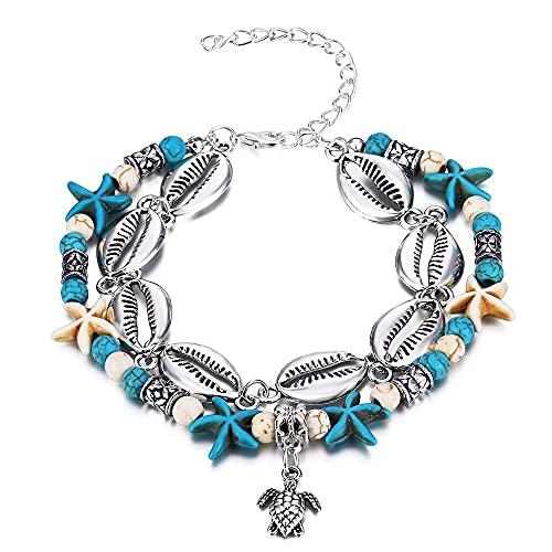Conjunto de joyería doble playa pie cadena tobillera para mujeres niña vacaciones viaje regalo aleación tortuga encanto pierna plata color colgante