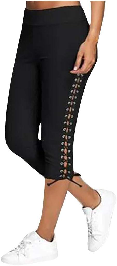 WUAI Women's High Waist Yoga Capris Cropped Pants Running Athletic Joggers Sweatpants Casual Bandage Workout Leggings