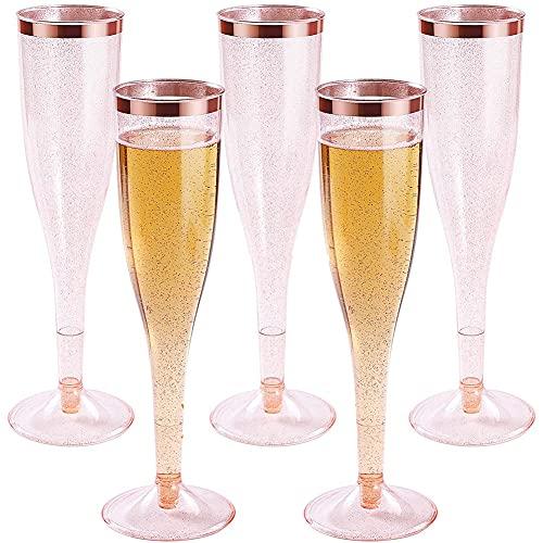 Mungowu Copas de ChampáN de PláStico con Brillo de Oro Rosa y Borde de Oro Rosa, Vasos de Mimosa Desechables Reutilizables para Fiestas