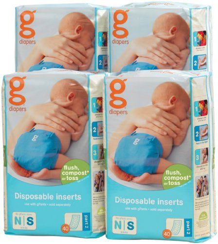 g Diapers biologisch afbreekbare inzetstukken wit NB/S
