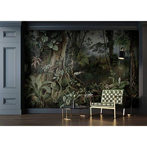 Premium Vliestapete XXL Fototapete Jungle Tapete Regenwald Pflanzen Retro 4,00m x 2,70m
