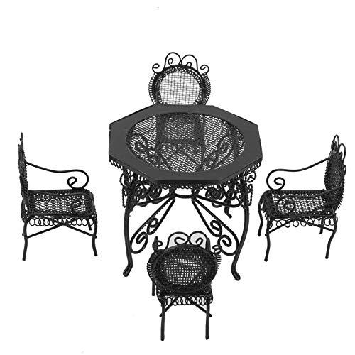 創造的なドールハウスの家具、ドールハウスのテーブルと椅子、1:12のドールハウスの室内装飾のための庭の装飾(black)