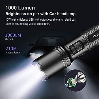 Klarus tactique rechargeable lampe torche militaire EP10 V2 1000 lumens LED Lampe de poche USB C - 3 modes plus flash - Étanche IPX6 - Batterie 18650 - Pour camping, extérieur, urgences