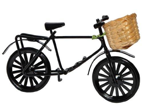 Unbekannt Miniatur Fahrrad mit Korb - aus Metall schwarz - für Puppenstube Maßstab 1:12 - Puppenhaus - / Geldgeschenk Fahrräder - Damenfahrrad / Herrenfahrrad / Kinderf..