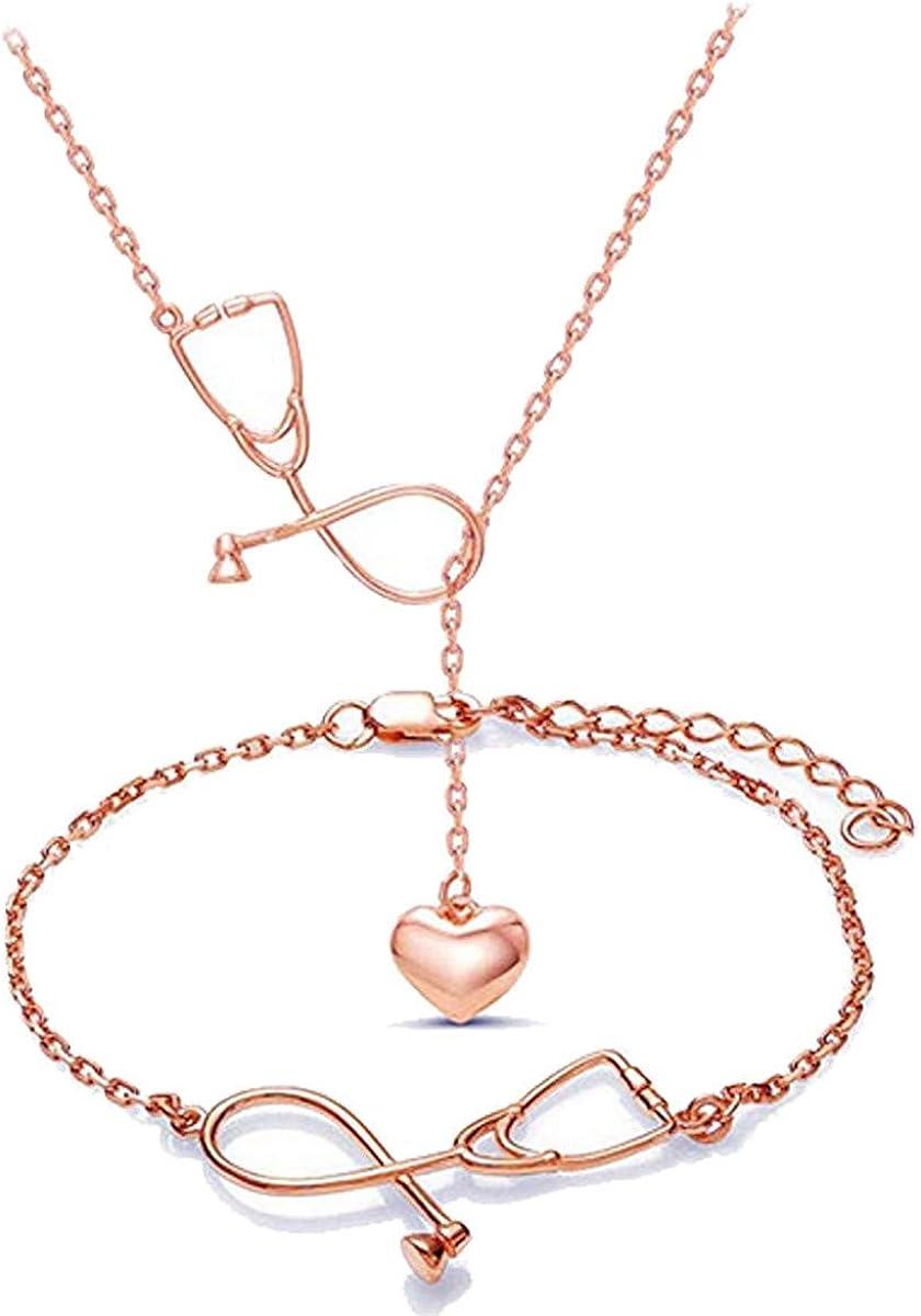 Gloria Trend Women's Medicine Stethoscope Pendant Necklace Bracelet Jewelry Set Stethoscope Lariat Gifts for Doctor Nurse