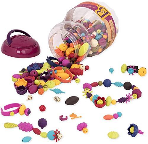B. toys by Battat – Ensemble de perles à enfiler (500 pièces) – Pop Arty! – Kit pour confectionner les bijoux –Colliers, bagues, et bracelets créatifs – Pour enfants de 4 ans et plus