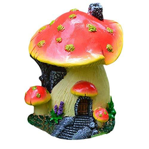 Kunstbonsai mini-simulatie, kunsthars, tuinieren, paddenstoelen in pan van paddenstoelen, bloempot, ornamenten, huis B