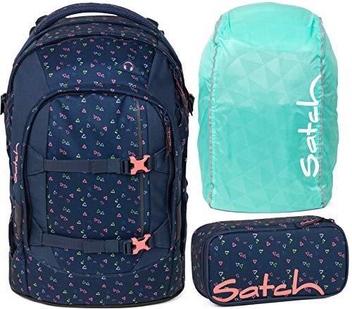 Satch Pack Funky Friday 3er Set Schulrucksack, Schlamperbox & Regencape Mint