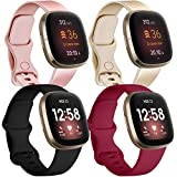 JUVEL Pack 4 Straps Compatible with Fitbit Versa 3 Strap/Fitbit Sense Strap, Soft Silicone Sport Replacement Wristbands for Women Men, Small, Rose Gold/Champagne/Black/Wine Red