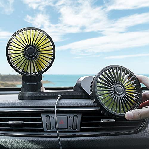 Ventola per Auto a Doppia Testa, Ventilatore Auto USB, Ventilatore Auto 12v-24v Forte Contiene Aromaterapia Ventola di Raffreddamento Estiva a Tre velocità per Auto Casa e Ufficio