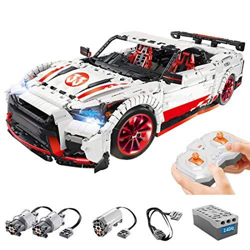 PEXL Technik Auto Bausteine Bausatz für Nissan GTR, Technic Rennauto Modell mit 2.4G Fernbedienung und 3 Motoren, 3400 Klemmbausteine Kompatibel mit Lego Technik