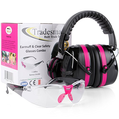 Check Out This TRADESMART Pink Shooting Earmuffs & Clear Safety Glasses – 2 Piece Gun Range Kit