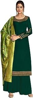 Ready To Wear Indian Heavy Designer Georgette Satin Salwar Kameez Banarasi Silk Zari Dupatta Full Stitch Suit Punjabi Festive Muslim Wedding Bollywood Party Wear 8655