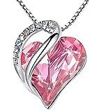 Collar con colgante de corazón de amor infinito, hecho con cristales de Swarovski, piedra natalicia, regalo para mujeres, tono plateado, 45.72 cm + 5.08 cm, presentado por Miss New York Rosa