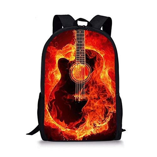 Mochila escolar Dibujos animados 3D Guitarra Impresión Mochila Mochila de hombro para niñas adolescentes Estudiante 44 * 28 * 13CM I