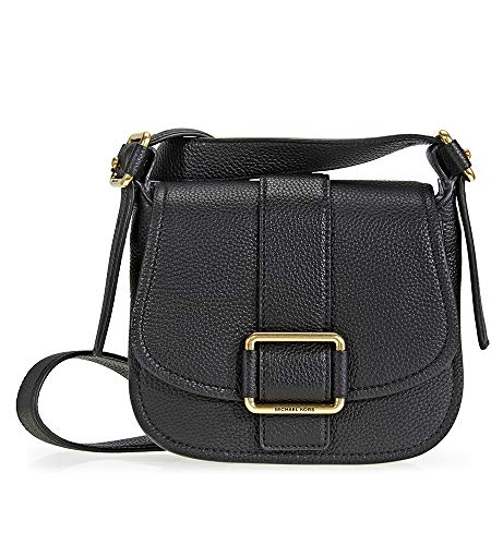 "A Michael Kors Maxine saddlebag styled in pebbled leather with brushed gold-tone hardware and polyester lining This saddlebag features one main open pocket, 1 zip pocket, an exterior slip pocket, a magnetic snap closure Adjustable strap with a 19""-23..."