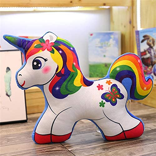 Qtlsgh Peluche Ultra Suave, Juguetes de Mascotas de Felpa Reales interactivos, Unicornio Suave Plush Almohada Colorido Pony muñeca 40 cm
