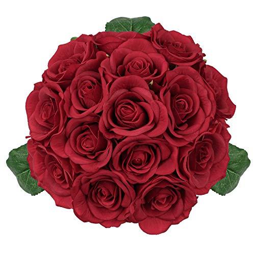 Bouquet de roses artificielles en soie - Bouquet de 15 roses artificielles - Bouquet de mariage - Pour la maison, le jardin, la décoration de mariage - Rouge (pas de vase)