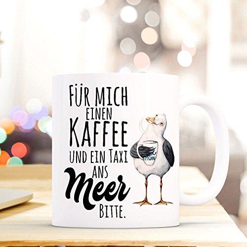 ilka parey wandtattoo-welt Lustige Tasse Becher Kaffeetasse mit Möwe Spruch Kaffeebecher Geschenk Spruchbecher .Taxi ans Meer ts643