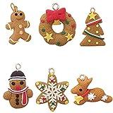 Queta 6 piezas Muñeca colgante de Navidad set para la decoración de árbol de navidad ,conjunto Muñeca colgante de Navidad Arcilla suave de árbol de navidad ,copo de nieve ,muñeco de nieve,animal
