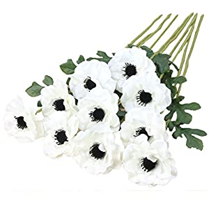 Htmeing 10pcs Artificial Anemone Full Blooming Flower Bushes with Green Foliage for Mother's Day or Decoration for Home, Restaurant, Office & Wedding