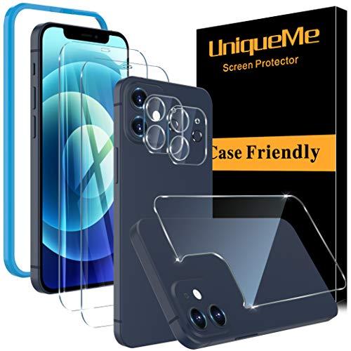 [2 + 2 + 1 Pack] UniqueMe Schutzfolie Kompatibel mit iPhone 12 (6,1 Zoll) 5G Panzerglas +Kamera Folie+ Bildschirmschutzfolie hinten [Blasenfrei] gehärtetem Glas Folie HD klar Bildschirmschutz