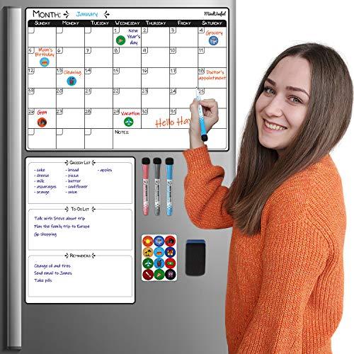 Fridge Calendar - Magnetic Calendar for Refrigerator Dry Erase Calendar Fridge Whiteboard - Monthly Calendar Set NO Bending