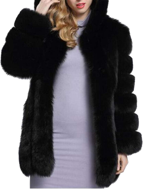 Jotebriyo Women Fuzzy Slim Hooded Longline Faux Fur Coat Cardigan Outerwear Overcoat